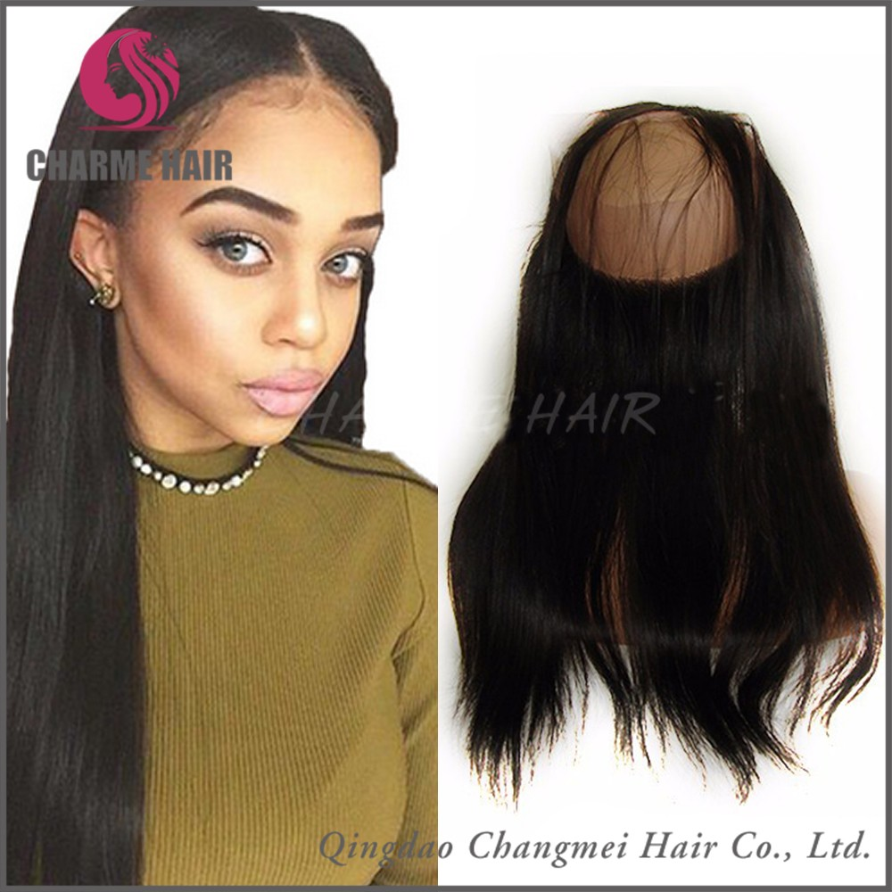 China factory supply Brazilian Human Hair 22x 4 x 2 silk straight 360 lace frontal