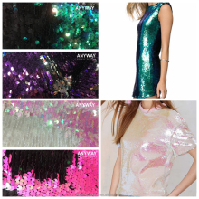 Reversible mermaid spangle color changing facebook fish scale stretch embroidered fabric for pillow covers, bags, shorts