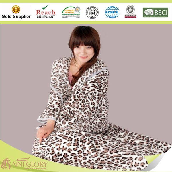 printed fleece with sleeves blankets
