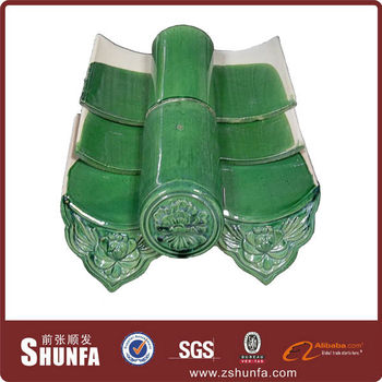 Green Antique Clay Chinese Roof Tiles