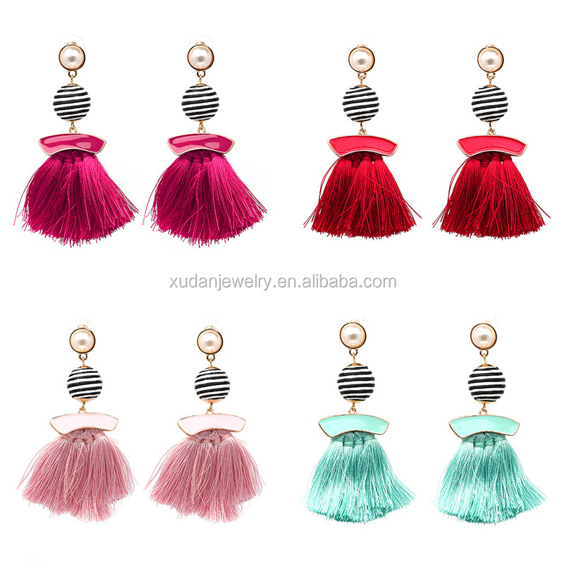 Fashion Boho Flat Pearl Charm Colorful Ball Silk Thread Tassel Drop Earrings