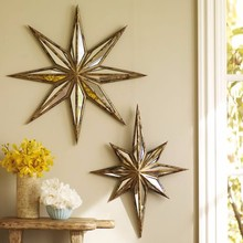 distressed metal wall hanging star shape mirror