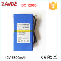 China li-ion battery manufacturer DC-12680 6800mAh 12V li-ion polymer Rechargeable battery for GPS,Lan router