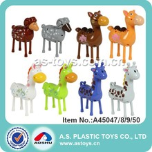 Kids plastic horse/sheep/camels/giraffe wind up toy