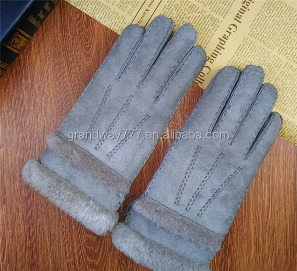 2017 New style handmade Man sheep skin leather gloves winter driving gloves