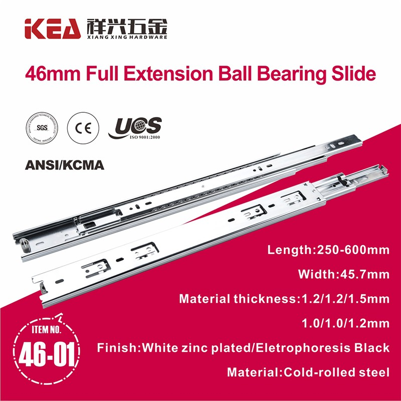 46mm Ball Bearing Telescopic Drawer Slide Rail