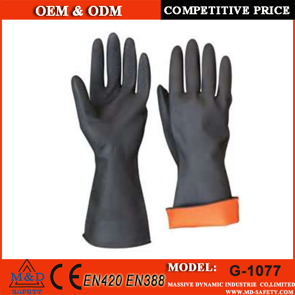 Double Industrial heavy duty work 4343 black rubber mining safety gloves