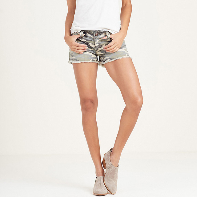 Fashion Custom Camouflage Printed Low Rise WOMENS Ripped Short Jeans For Woman