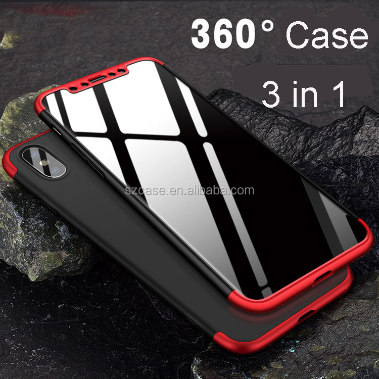 Luxury 360 clear tempered glass screen protector full shockproof hard pc cover phone case for iphone x 3 in 1 case for iphone x