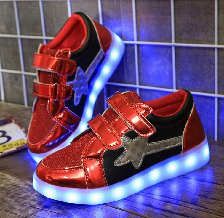 Wholesale USB charge LED kids sport shoes