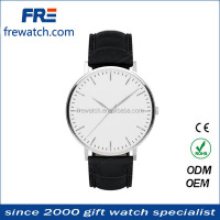 Imported Japan Movement stainless steel caseback quartz leather wrist watches