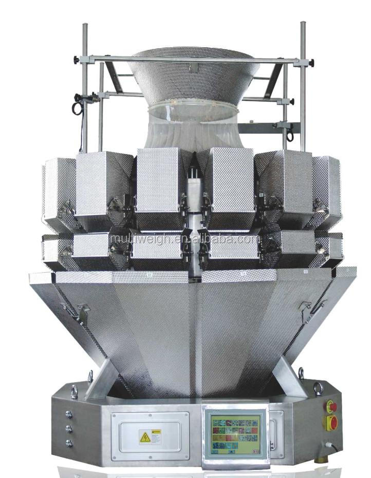 For salad and vegetables packing -PLC control 14 head multihead weigher (5.0L hopper)