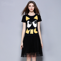 in store pullover short sleeve print o-neck chiffon loose plus size graduation party pictures of casual dress