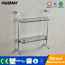 hot sale decorative double tiers wall mount bathroom glass rack