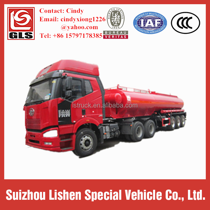 Tri-axle 35 cbm Carbon Steel Fuel Transport Tanker Trailer/ Tank Truck
