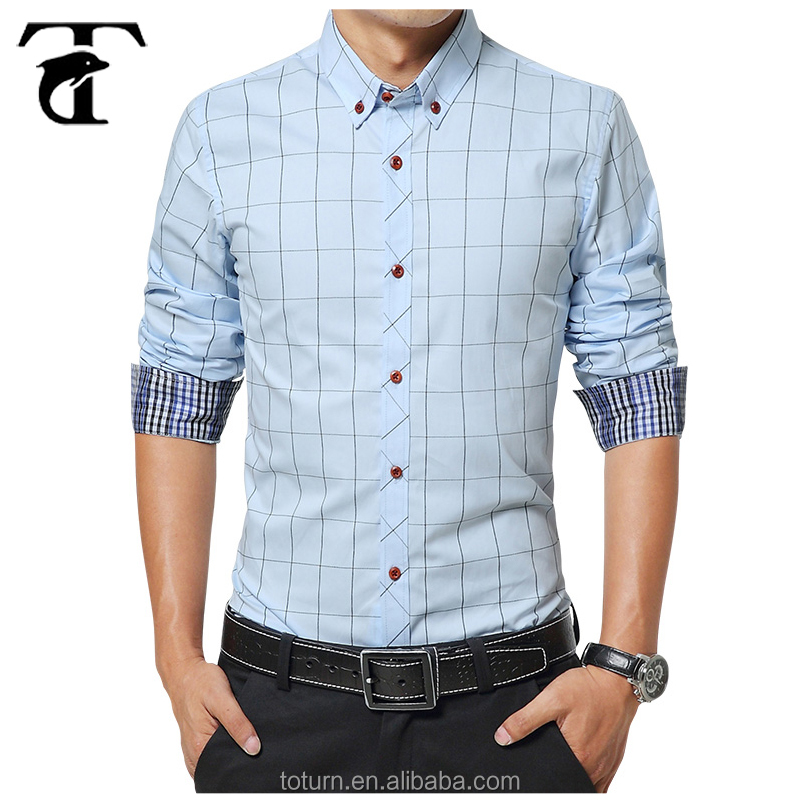 2017 Business Fancy Men's Fancy Dress Shirts Slim Fit Long Sleeves Unique Men's Dress Shirts Manufacturer