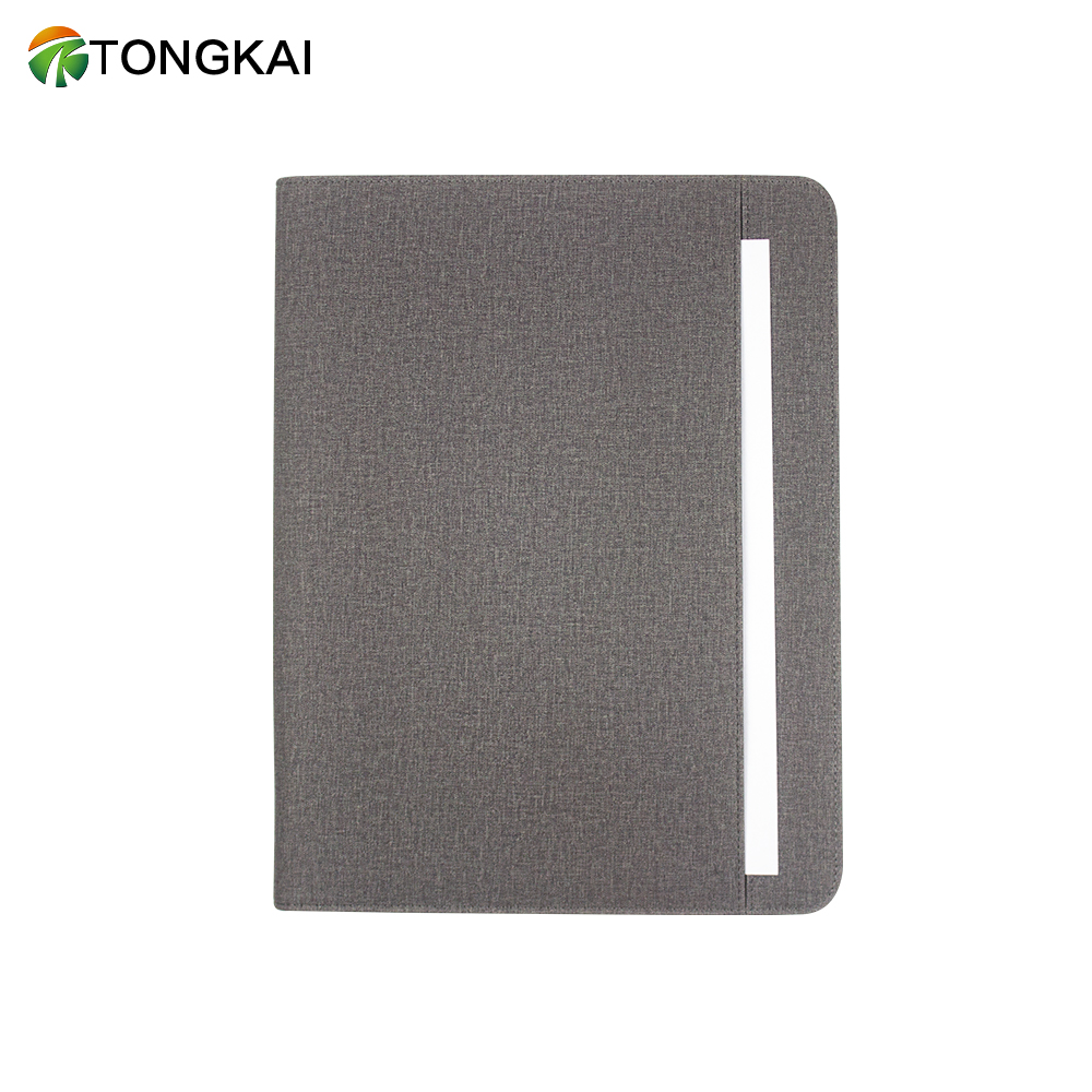 2019 Hot Selling Handle Official Business A4 Leather Portfolio Folder With Zipper