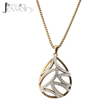 Cheap Rose Gold Latest Model Fashion Rhinestone Water Drop Necklace For Women