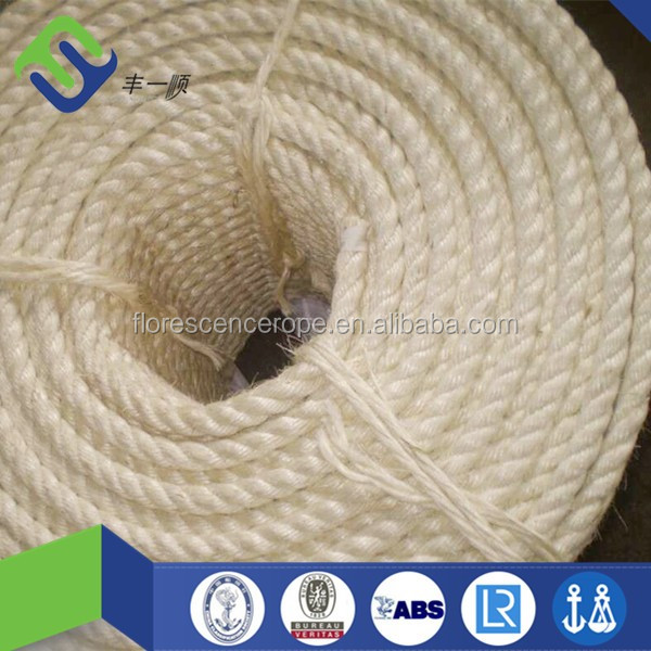 Unoiled Sisal 10mm 3 Strand Twisted Rope Made In China