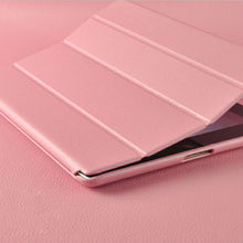 pink smart wake sleep leather folded case for ipad 4