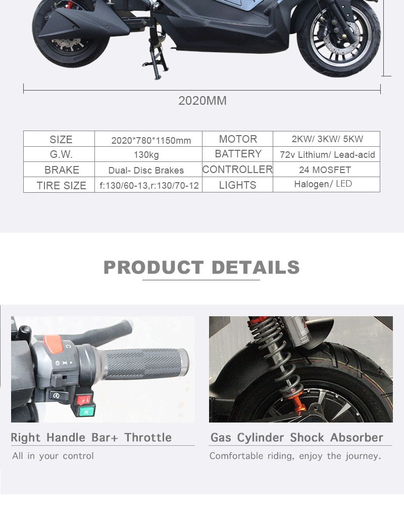 5000w Electric Bike T9 Electric Scooter with 72v Battery