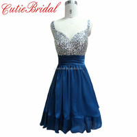 A-line Short Cocktail Dress Beaded Crystal Homecoming Dress Chiffon Two Straps Navy Graduation Dresses