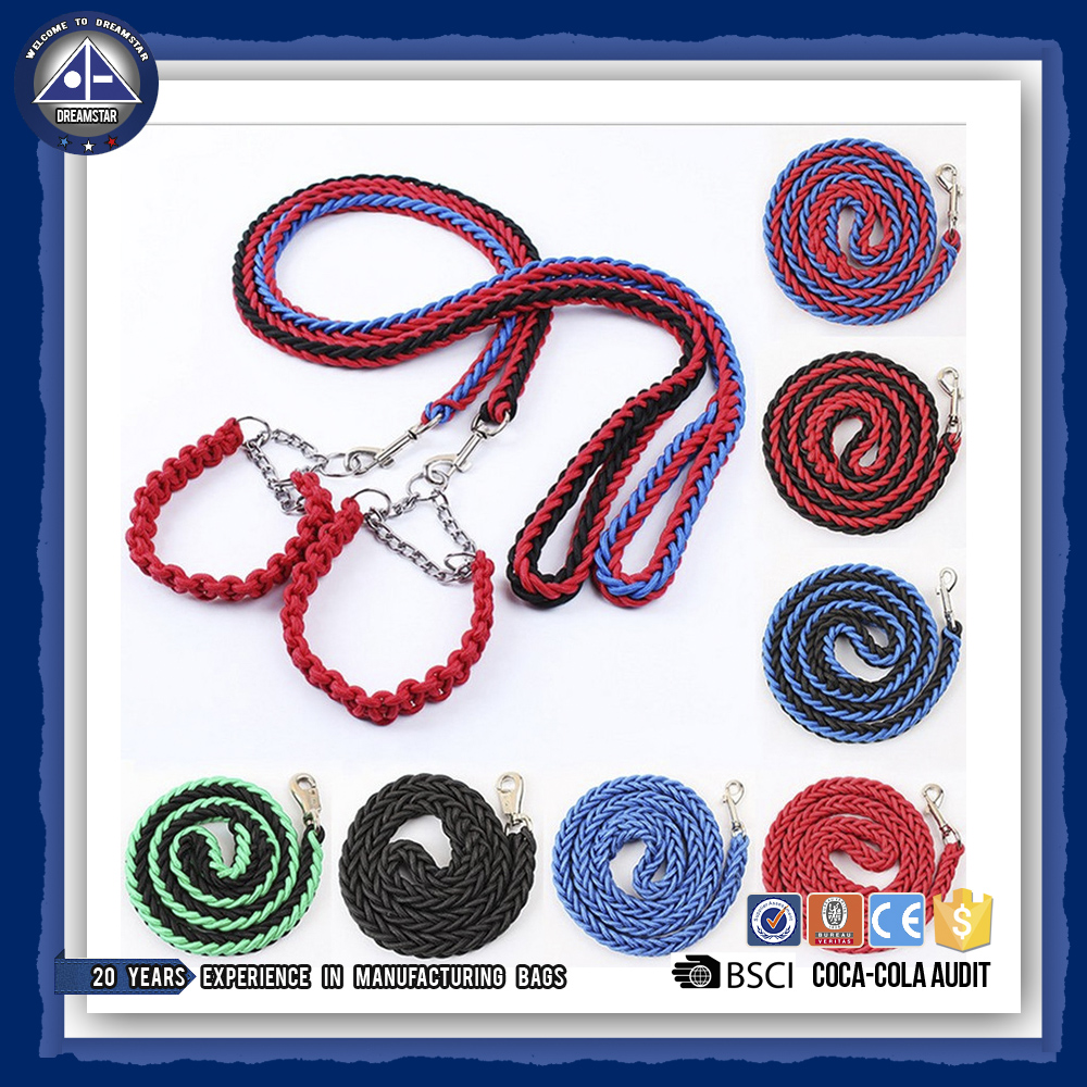 Stereotyped Color Braided Nylon Leash Pet Adjustable Nylon Dog Rope Slip Training Walking Leash Pet Supplies