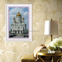 New style home decoration Europe famous building diamond painting on canvas