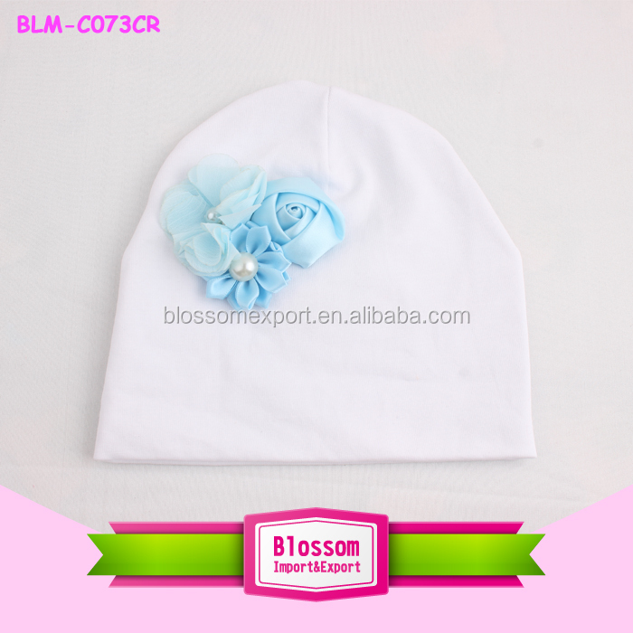 Wholesale new fashion high quality cute flower hat custom cheap baby girl's beanie hat