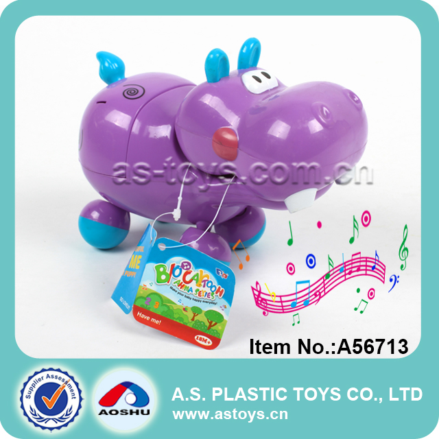 Battery operated music cartoon hippo dog toy for baby