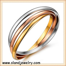 Factory price Wholesale Amazon hot selling high polished tri color permanent stainless steel stackable bangle for Women