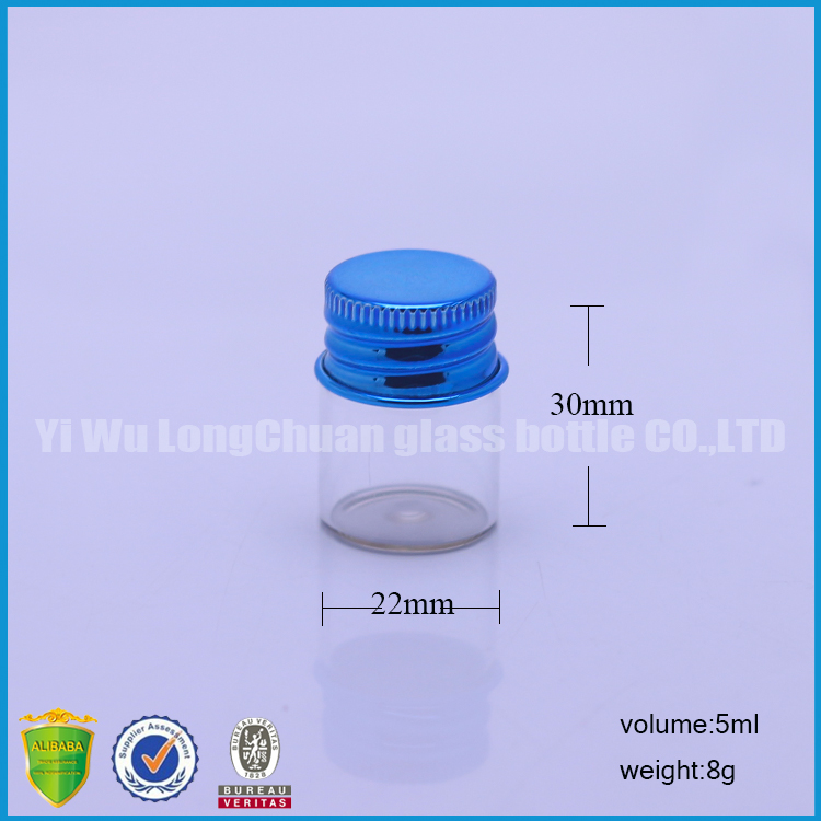 Tiny Decorative Glass Crafts Bottles With Airtight Screw Colorful Aluminum Cap 22*30mm 5ml