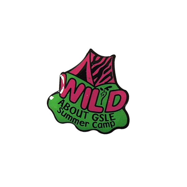 summer camp theme pin, metal printed pin, pin for wild activity