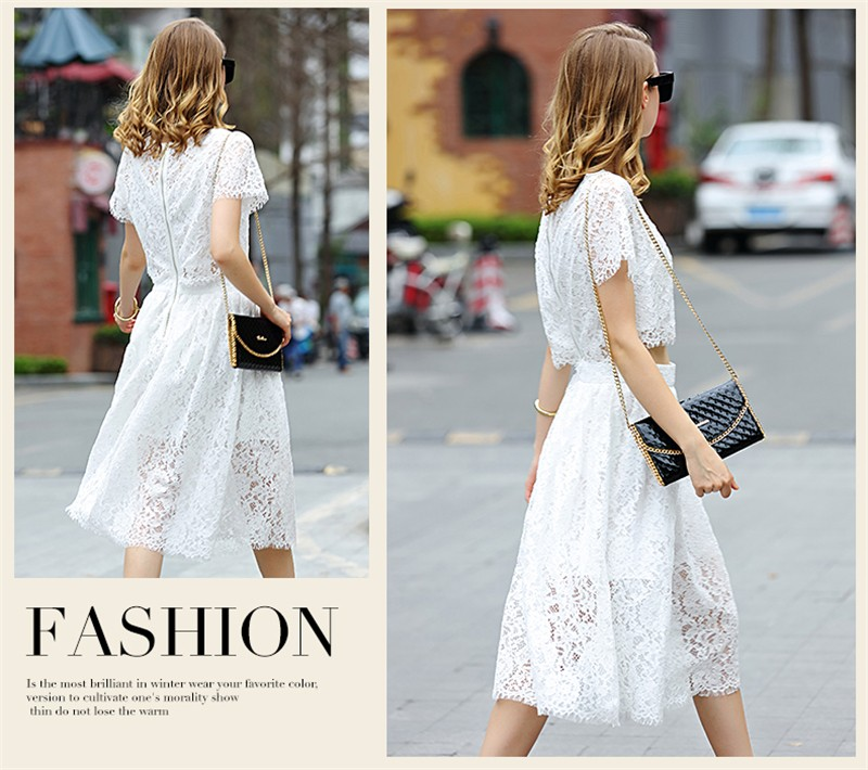 2 Pieces Sets Lace Tops and Lace Skirt Sexy Hollow Out Women Summer Lace Casual Pleat Cocktail Dress