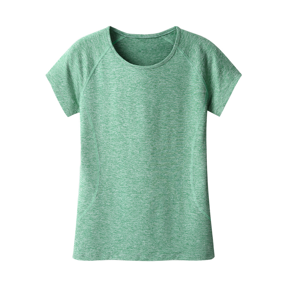 92 polyester 8 spandex customise logo slim fit moisture wicking shirt green round neck womens fitted tshirt oem in bulk plain
