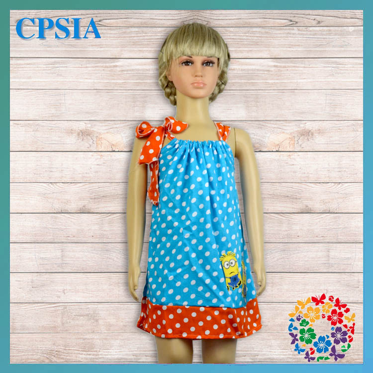 wholesale beautiful gowns for kids cotton dress for girls polka dot pattern cute baby dress with bow
