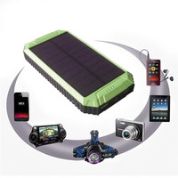Portable Powerful LED Light Design Solar Battery Storage 10000mAh Solar Charger for Cell Phone