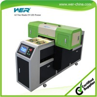 CE approved A2 dual head digital uv flatbed printer for pen ,lighters ,golf ball ,CD ,business card and plastic