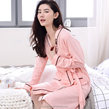 100%Cotton Sexy Mature Women Sleepwear with Lace Trim