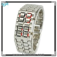 Fashional Digital Iron Samurai Led Lava Watch Digital Movement Binary Wrist Watch