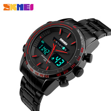 SKMEI Men Quartz Wristwatches Stainless Steel Strap Digital LED Dual Display Watches Army Military Waterproof Sport Watch 1131