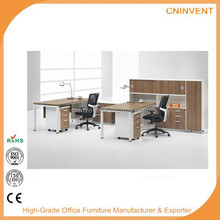Cherry Three Person Workstation with Panels and Storage