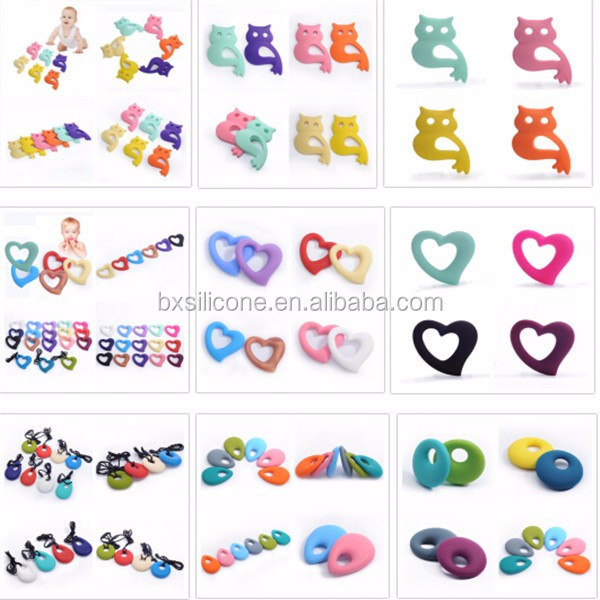 BPA Free Baby Heart And Animal Teether Pendant Silicone Teething
