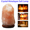 Carved Natural Crystal Himalayan Rock Salt Stone Lamp with Wooden Base