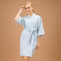 blue single layer waffle mix kimono ladies dressing gown nightgown with 3 color to choose