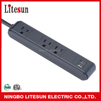 LST-04 High quality universal USB power strip charger electrical 3 outlet power strip with usb ports