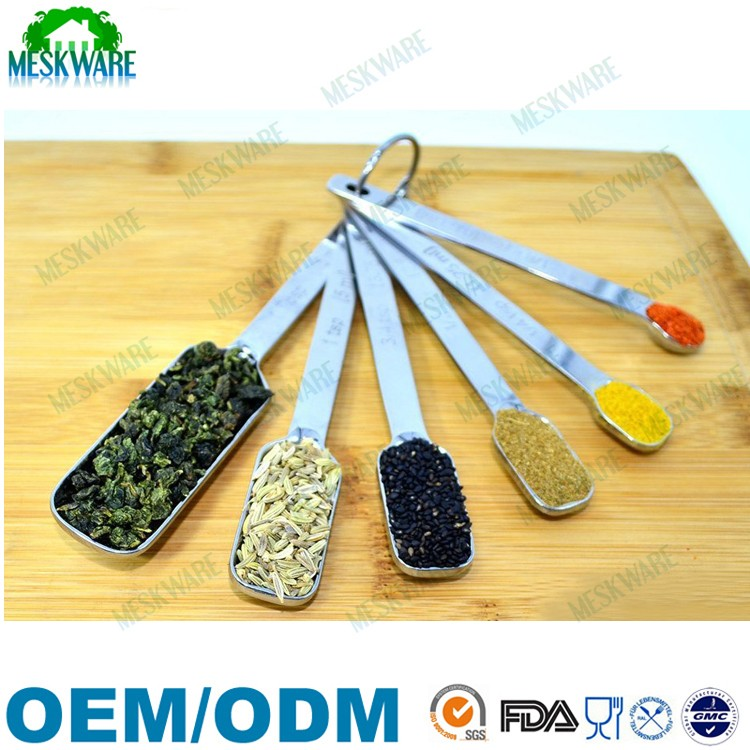 2019 New design rectangle shaped stainless steel measuring spoons with logo, cheap stainless steel spoon
