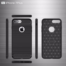 for iphone7 Rubber Silicone Cover Hard Plastic Brushed Metal Design Case for iPhone 7