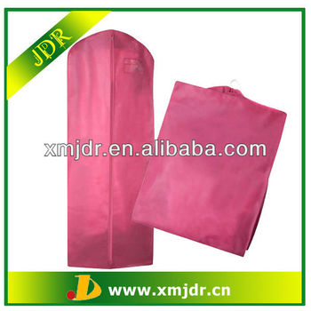 Pink Polypropylene Breathable Wedding Gown Cover Bag With Large Gussets