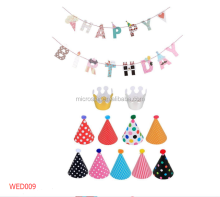 Kids 9 Hats 2 Crowns Colorful Happy Birthday Banner